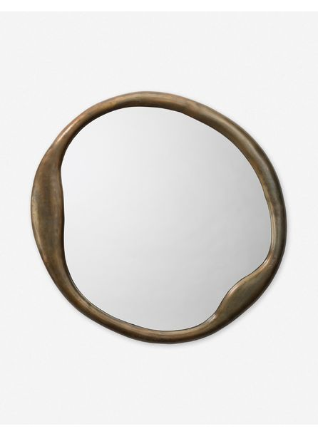 Doreen Round Mirror, Brass