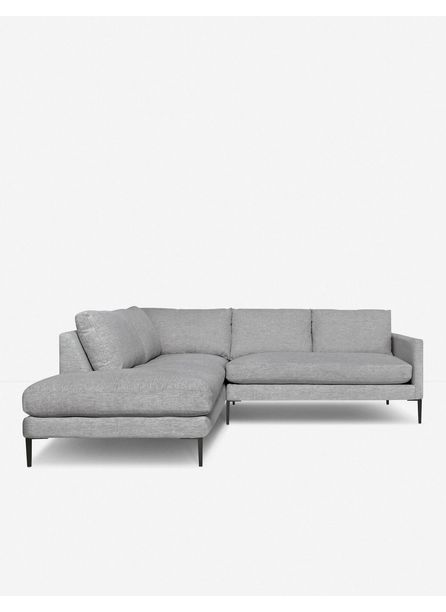 Allisen Left-Facing Bumper Sectional Sofa, Light Gray