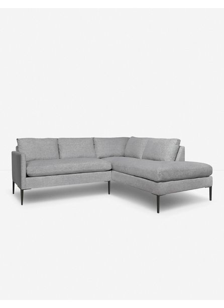 Allisen Right-Facing Bumper Sectional Sofa, Light Gray