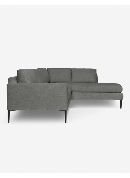 Allisen Right-Facing Bumper Sectional Sofa, Charcoal