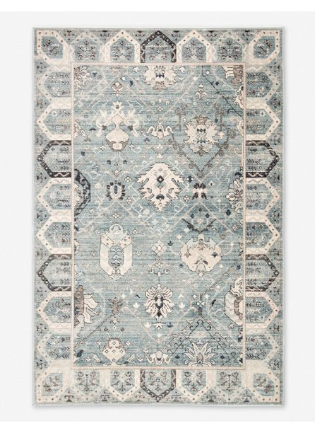 Jinnie Rug, Light Blue and Ivory