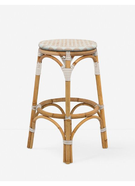 Cayla Indoor / Outdoor Counter Stool, White and Blush