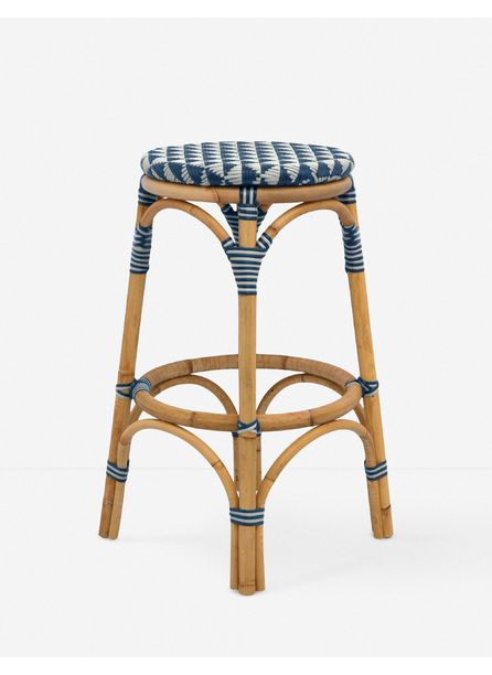 Cayla Indoor / Outdoor Counter Stool, White and Navy