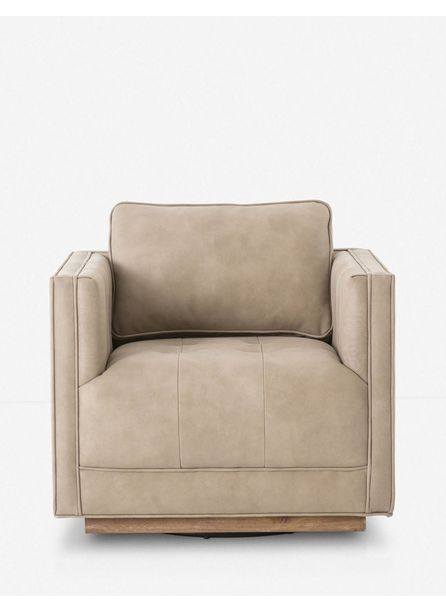 Constance Leather Swivel Chair, Natural