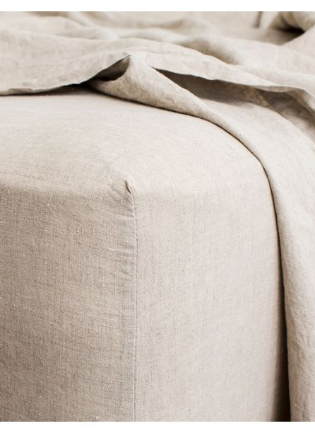 Cultiver Linen Bedding, Natural Fitted Sheet