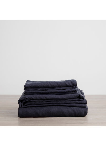 Cultiver Linen Bedding, Navy Sheet Set