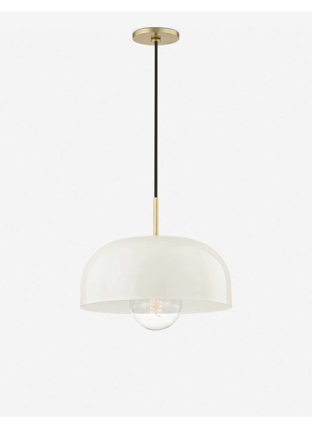 Dea Pendant Light, Aged Brass and Cream