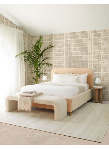 Solene Platform Bed, Buff