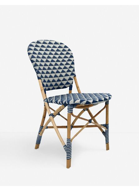 Theyla Indoor / Outdoor Dining Chair, White and Navy
