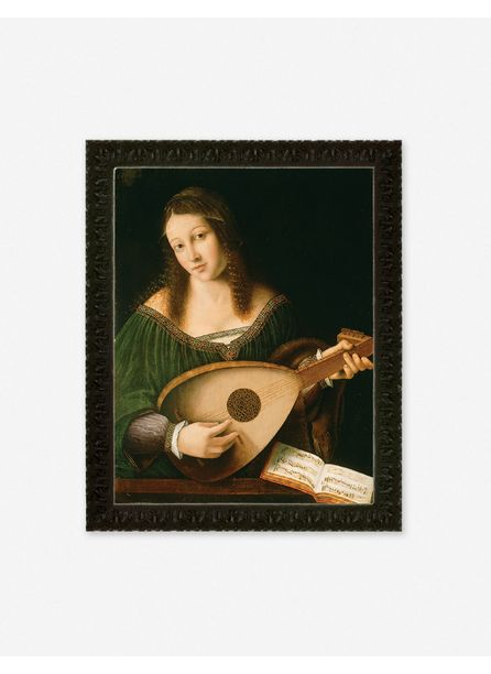 'Lady Playing a Lute' Wall Art by Bartolomeo Veneto and Workshop