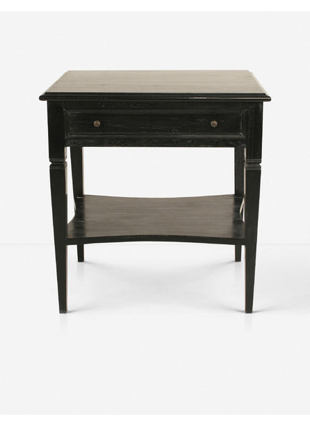 Luna 1-Drawer Nightstand, Hand Rubbed Black