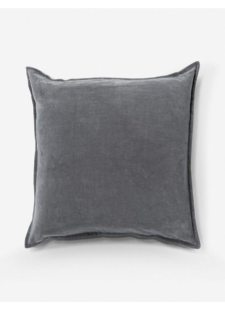 Maxen Velvet Pillow, Ash Gray