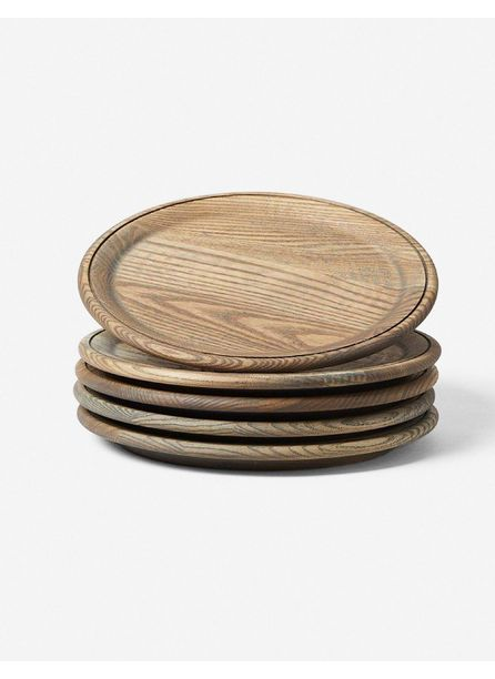 Farmhouse Pottery Crafted Wooden Plates, Grey (set of 4)