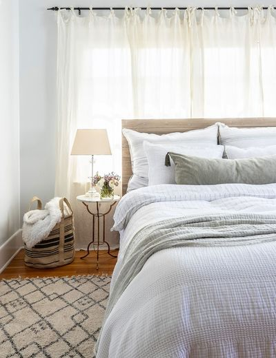 Pom Pom at Home Blake Duvet, White and Ocean