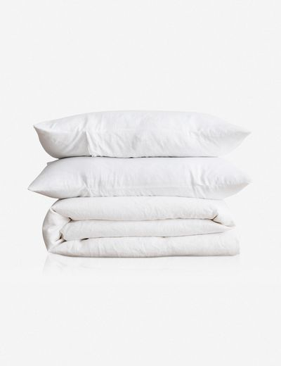Cultiver Linen Bedding, White Duvet Set