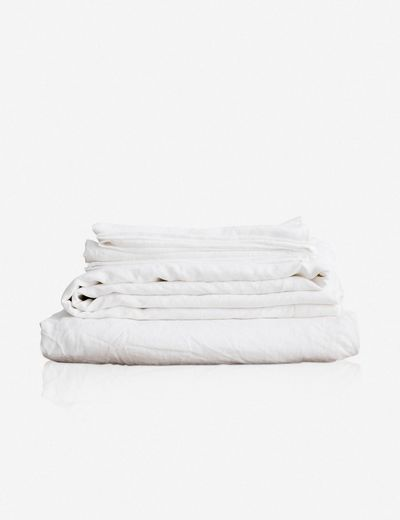 Cultiver Linen Bedding, White Sheet Set