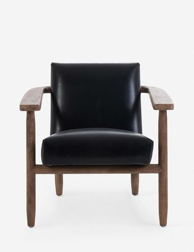 Jacy Leather Chair, Dakota Black