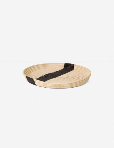 Jourdan Striped Raffia Tray, Natural and Black