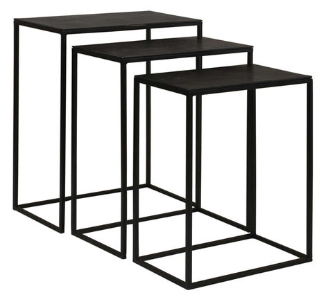 Loletta Nesting Tables, Aged Black (Set of 3)