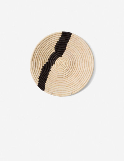 Quenna Striped Basket, Natural and Black