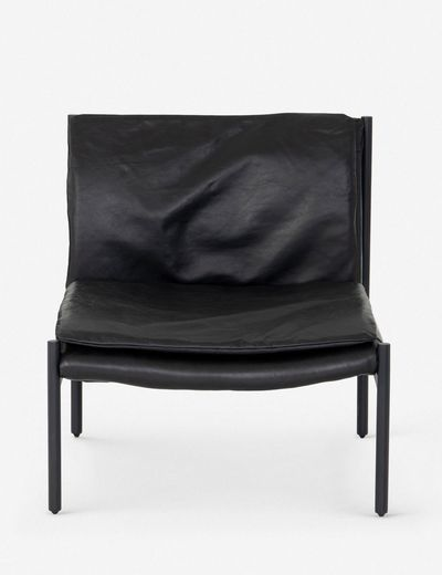 Ronella Leather Accent Chair, Aged Black