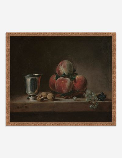 'Still Life with Peaches, a Silver Goblet, Grapes, and Walnuts' Wall Art by Jean-Siméon Chardin
