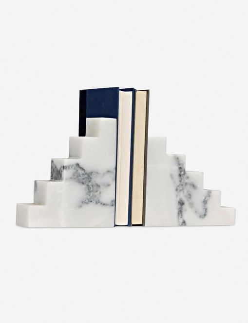 Calacata Bookends