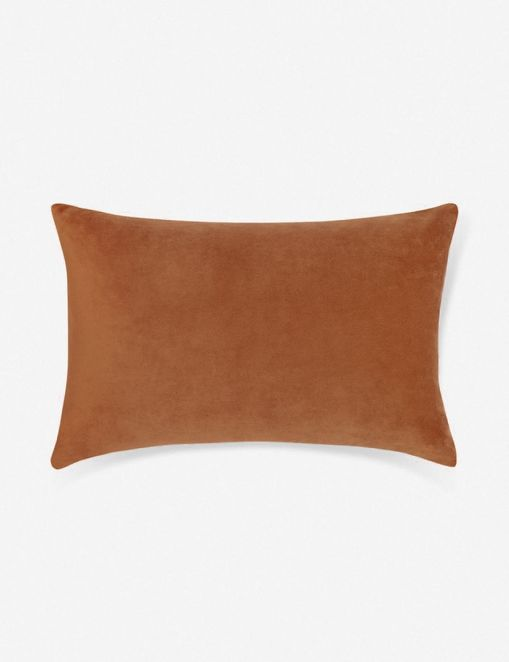 Charlotte Velvet Lumbar Pillow, Burnt Orange