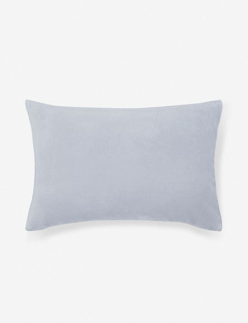 Charlotte Velvet Lumbar Pillow, Ice Blue