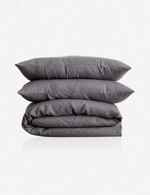 Cultiver Linen Bedding, Charcoal Gray Duvet Set