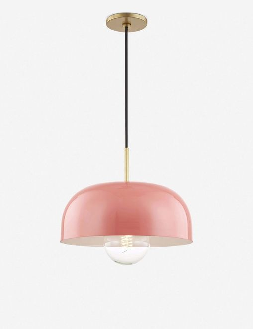 Dea Pendant Light, Aged Brass and Pink