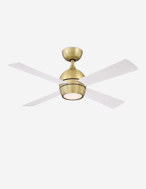 Indi Ceiling Fan + Light, White/Brass