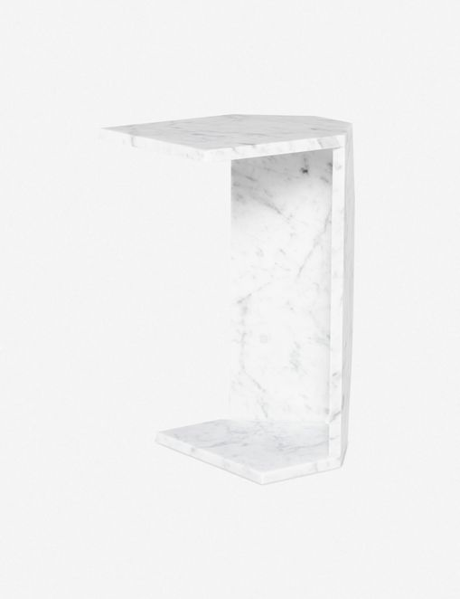 Deliah Side Table, White Marble