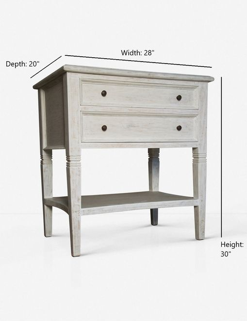 Luna 2-Drawer Nightstand, White Wash