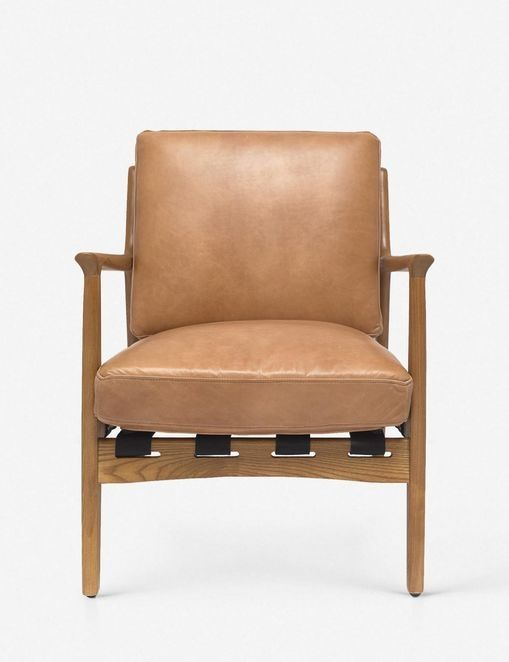 Kenneth Leather Accent Chair, Brown