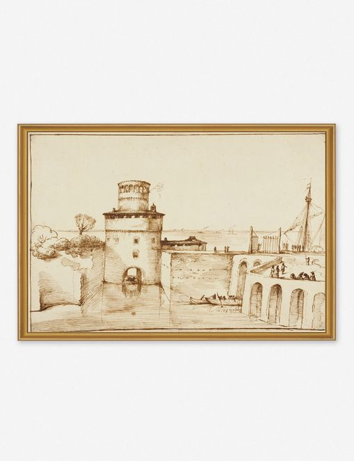'Landscape with a View of a Fortified Fort' Wall Art by Giovanni Francesco Barbieri, Original Work held by the J. Paul Getty Museum