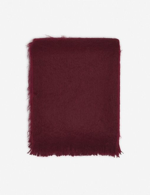 Aimee Mohair Throw, Merlot
