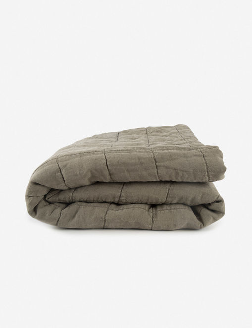 Hawkins New York Simple Linen Quilt, Olive