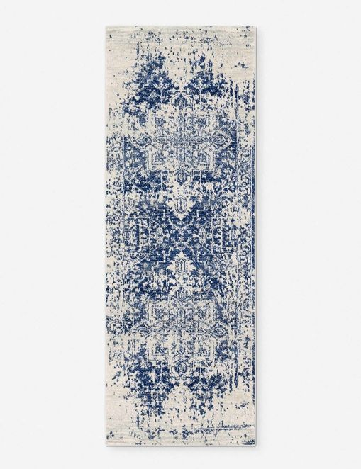 Prisha Rug, White and Blue