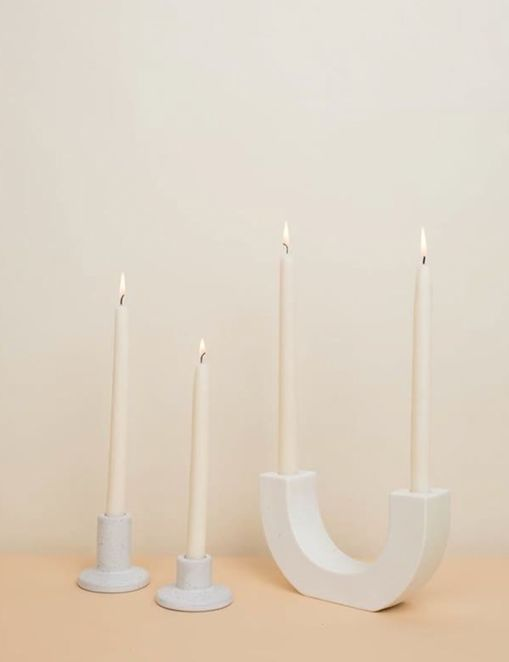 Dara Candle Holder, White
