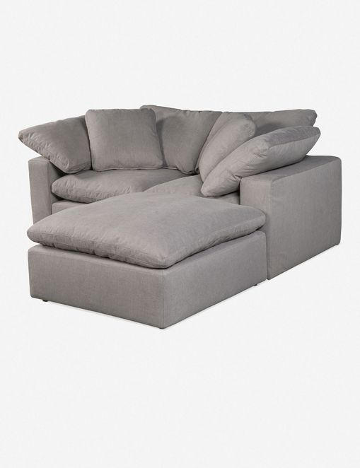 Jacques Small Sectional Sofa, Light Grey